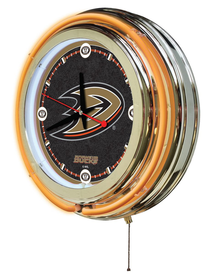 Anaheim Ducks NHL D1 15-Inch Neon Logo Clock (side view)