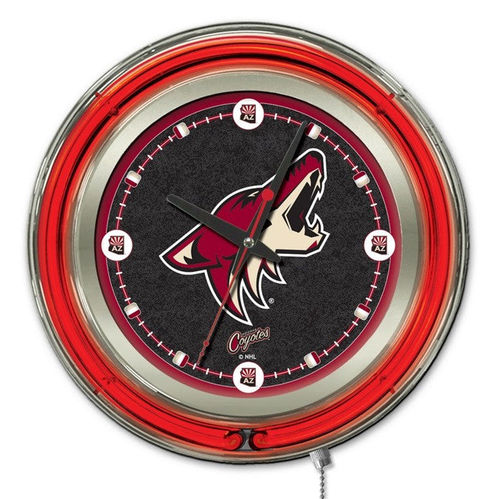 Arizona Coyotes NHL 15-Inch Neon Logo Clock - Sports Fans Plus