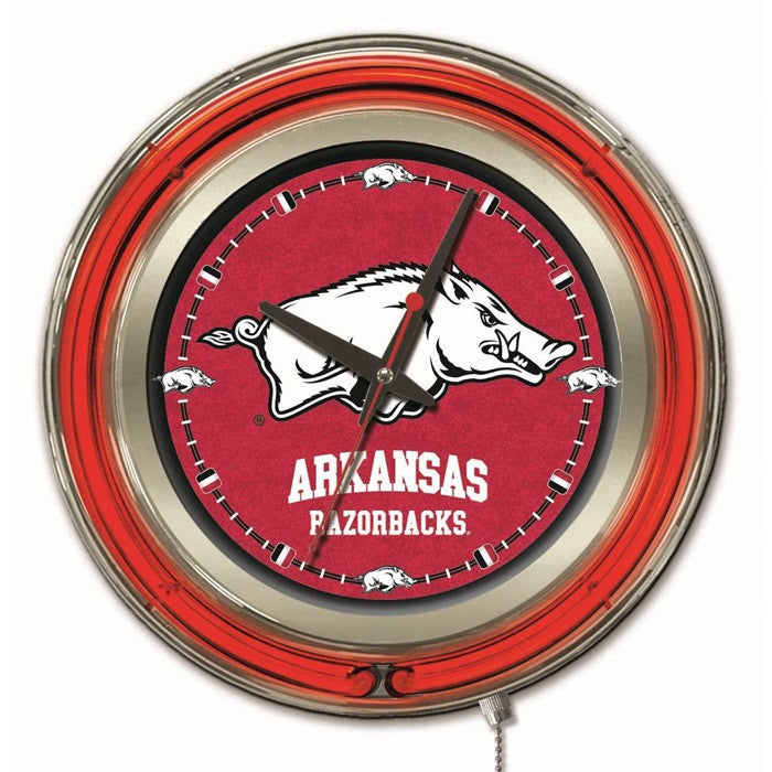 Arkansas Razorbacks 15-Inch Neon Logo Clock - Sports Fans Plus