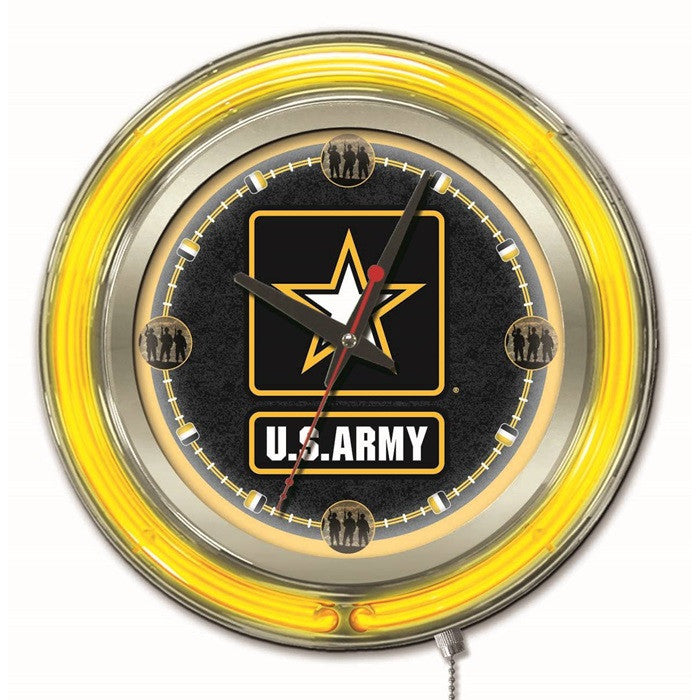 US Army 15-Inch Neon Logo Clock - Sports Fans Plus