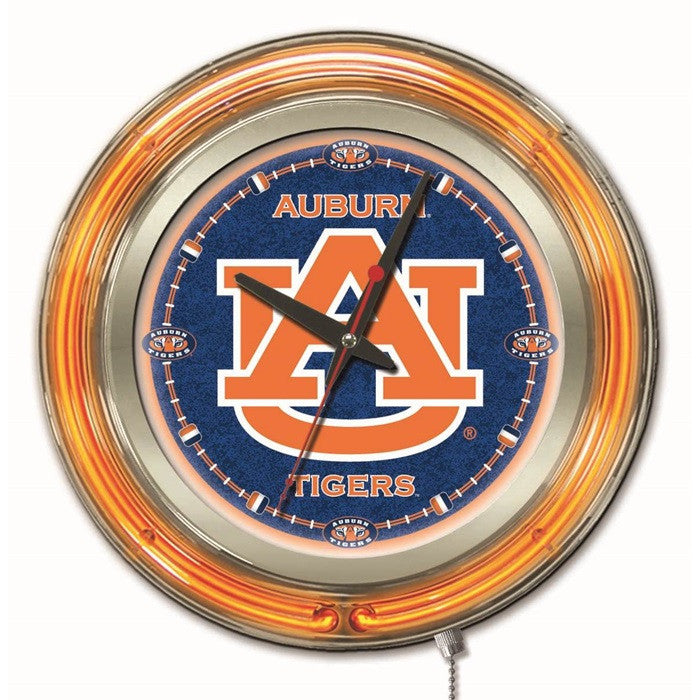 Auburn Tigers 15-Inch Neon Logo Clock - Sports Fans Plus