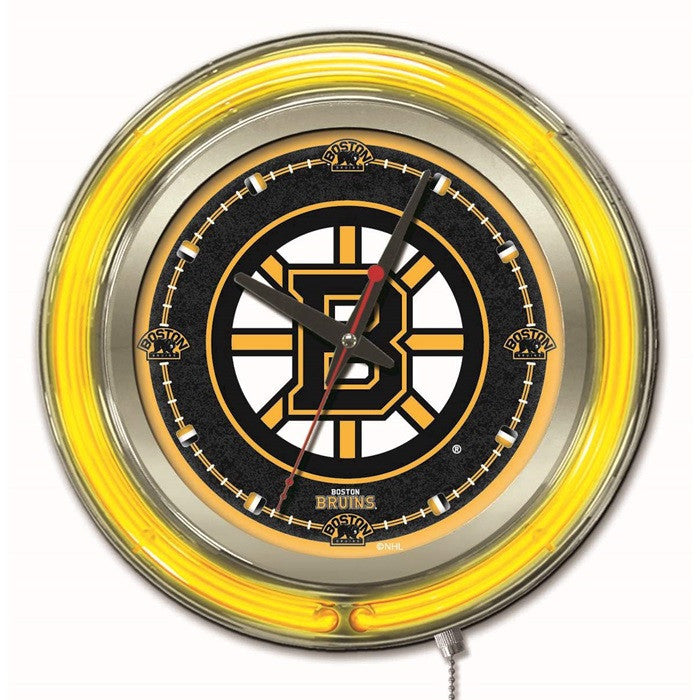 Boston Bruins NHL 15-Inch Neon Logo Clock - Sports Fans Plus