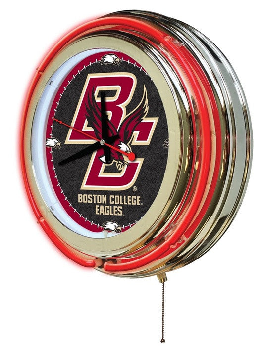 Boston College Eagles 15-Inch Neon Logo Clock (side view)