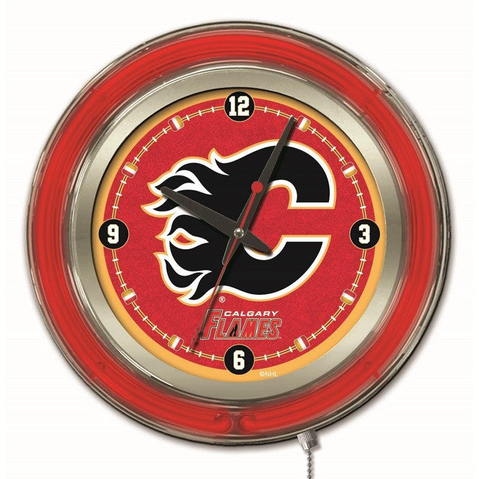 Calgary Flames NHL 15-Inch Neon Logo Clock - Sports Fans Plus