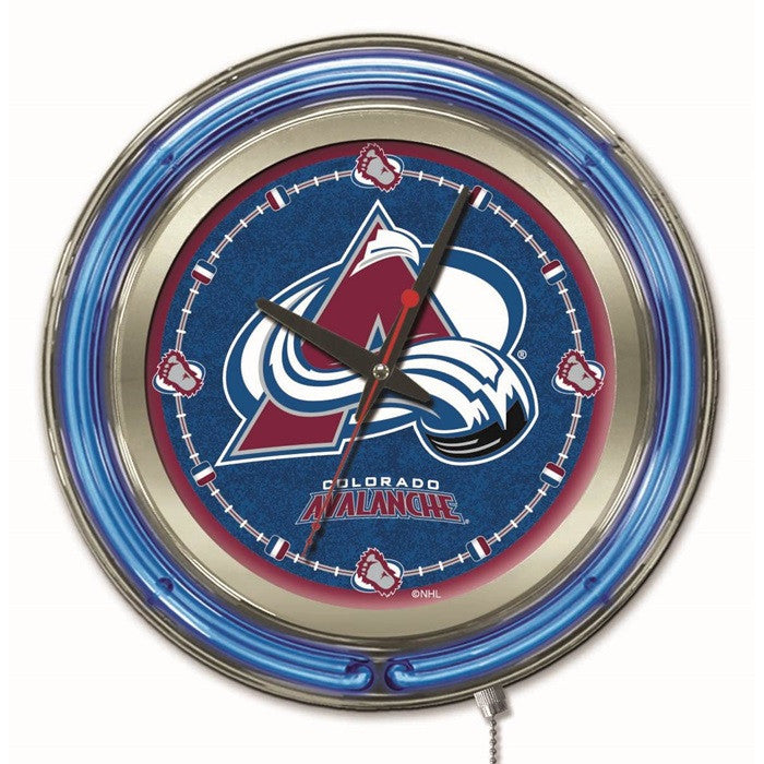 Colorado Avalanche NHL 15-Inch Neon Logo Clock - Sports Fans Plus