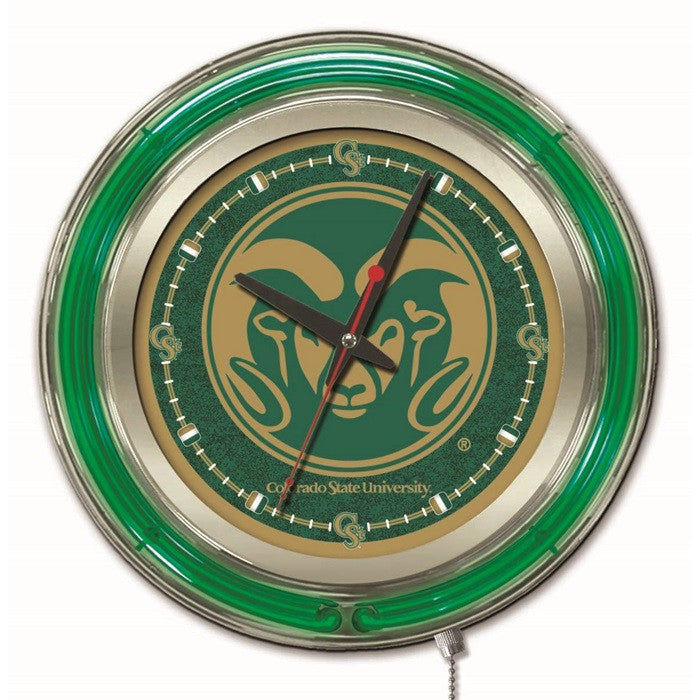 Colorado State Rams 15-Inch Neon Logo Clock - Sports Fans Plus