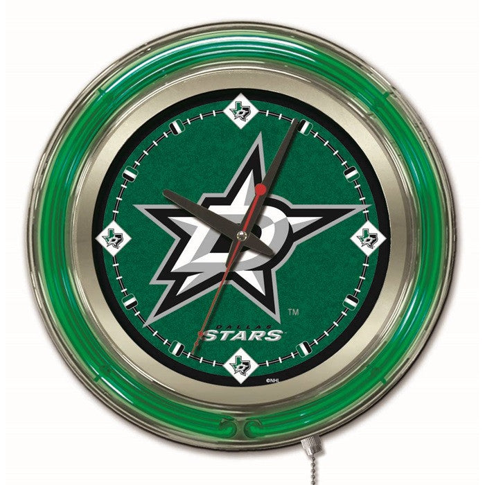 Dallas Stars NHL 15-Inch Neon Logo Clock - Sports Fans Plus