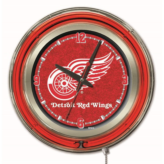 Detroit Red Wings NHL 15-Inch Neon Logo Clock - Sports Fans Plus