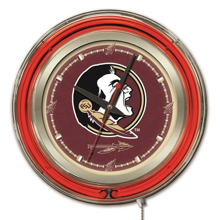 Florida State Seminoles 15-Inch Neon Logo Clock - Sports Fans Plus - 1