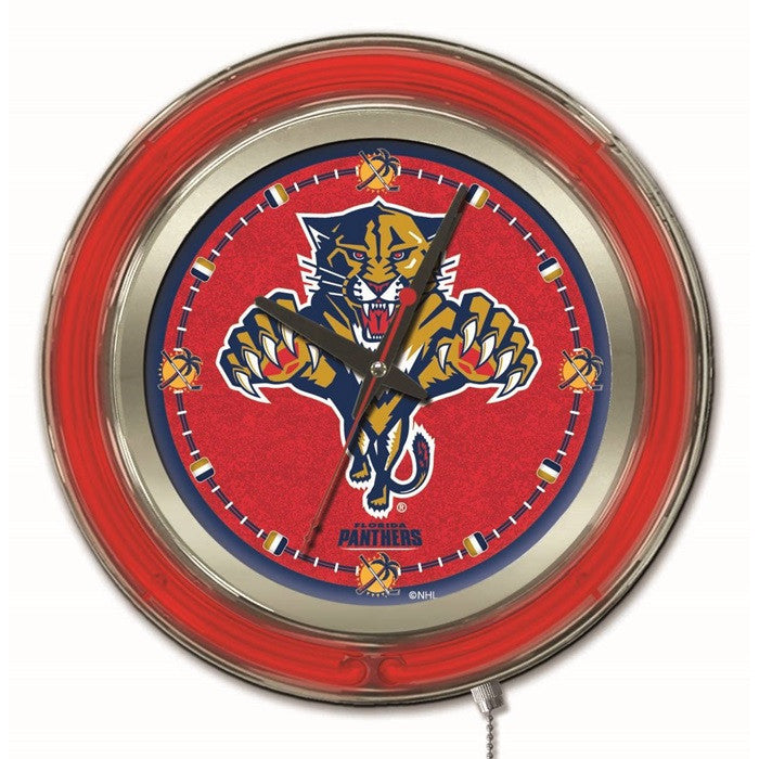 Florida Panthers NHL 15-Inch Neon Logo Clock - Sports Fans Plus