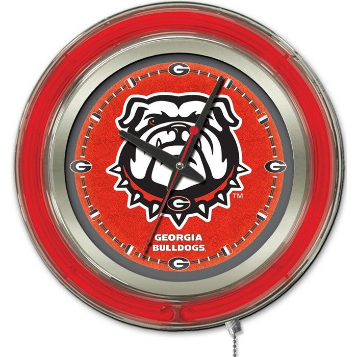 Georgia Bulldogs 15-Inch Neon Logo Clock - Sports Fans Plus - 1