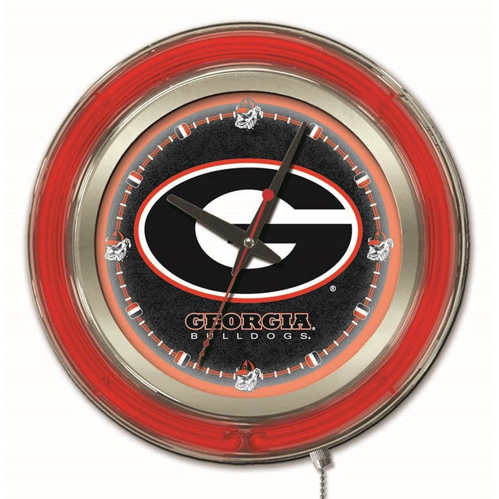 Georgia Bulldogs 15-Inch Neon Logo Clock - Sports Fans Plus  - 2