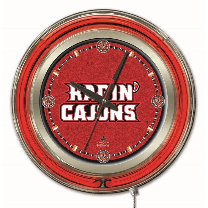 Louisiana at Lafayette Ragin' Cajuns 15-Inch Neon Logo Clock - Sports Fans Plus