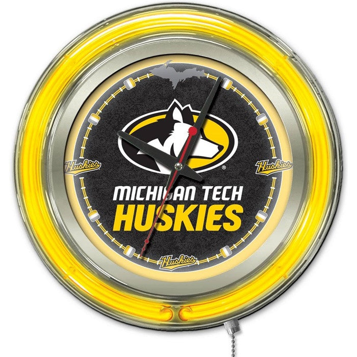 Michigan Tech Huskies 15-Inch Neon Logo Clock
