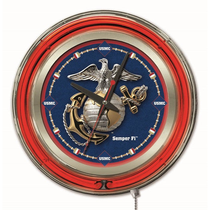 US Marine Corps 15-Inch Neon Logo Clock - Sports Fans Plus
