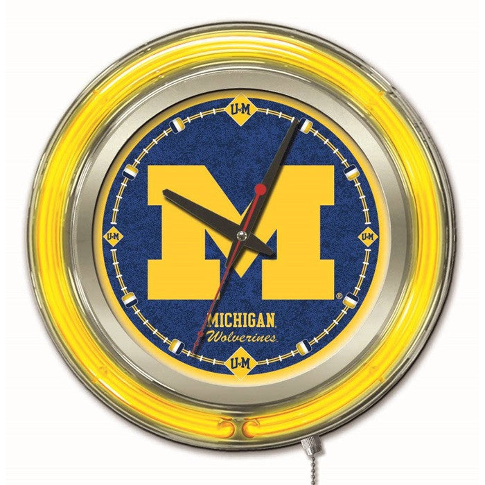 Michigan Wolverines 15-Inch Neon Logo Clock - Sports Fans Plus