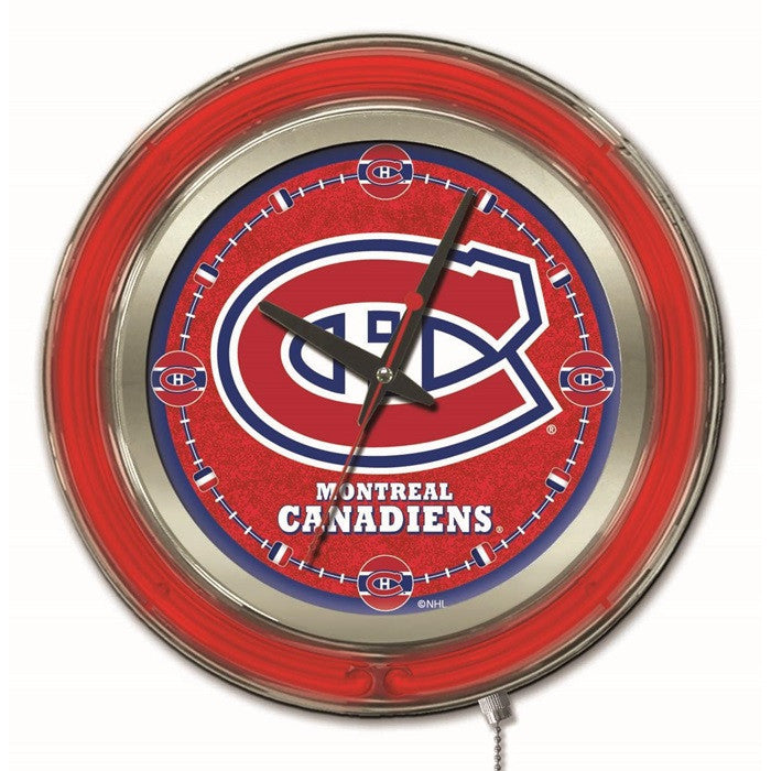 Montreal Canadiens NHL 15-Inch Neon Logo Clock - Sports Fans Plus