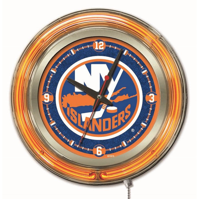 New York Islanders NHL 15-Inch Neon Logo Clock - Sports Fans Plus