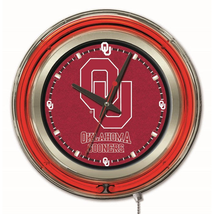 Oklahoma Sooners 15-Inch Neon Logo Clock - Sports Fans Plus