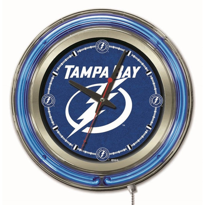 Tampa Bay Lightning NHL 15-Inch Neon Logo Clock - Sports Fans Plus