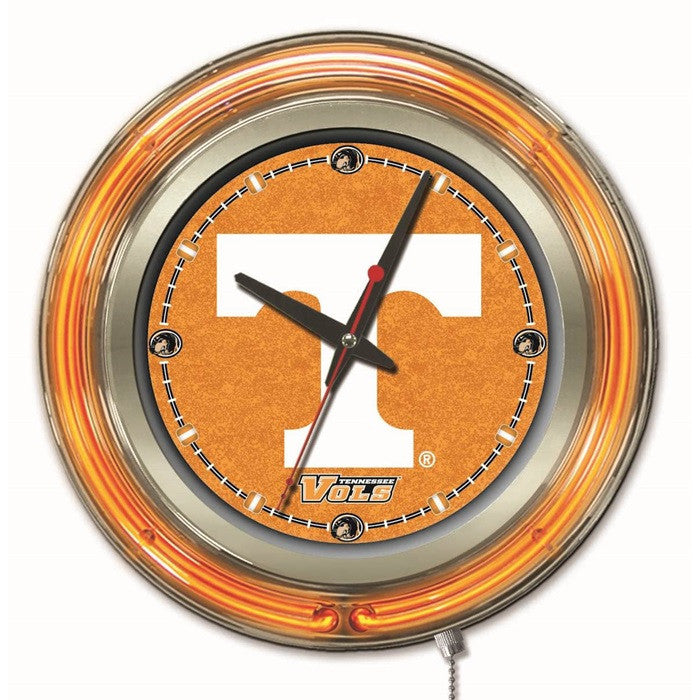Tennessee Volunteers 15-Inch Neon Logo Clock - Sports Fans Plus