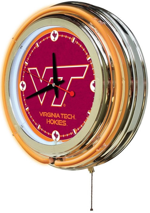 Virginia Tech Hokies 15-Inch Neon Logo Clock (side view)