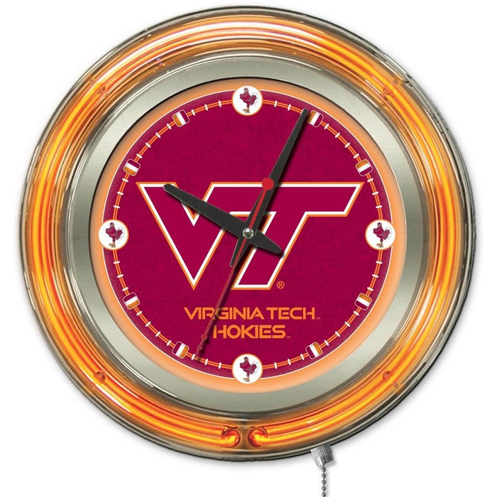 Virginia Tech Hokies 15-Inch Neon Logo Clock