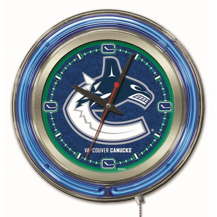 Vancouver Canucks NHL 15-Inch Neon Logo Clock - Sports Fans Plus