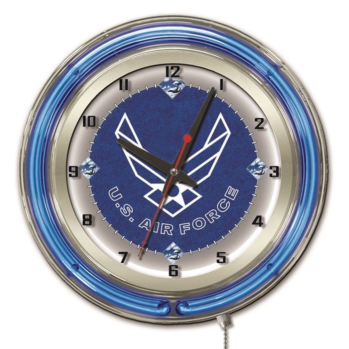 US Air Force 19-Inch Neon Logo Clock - Sports Fans Plus