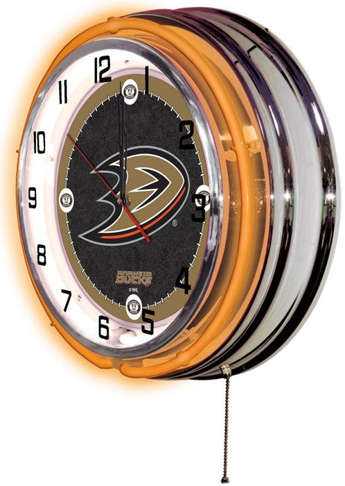 Anaheim Ducks NHL 19-Inch Neon Logo Clock (side view)