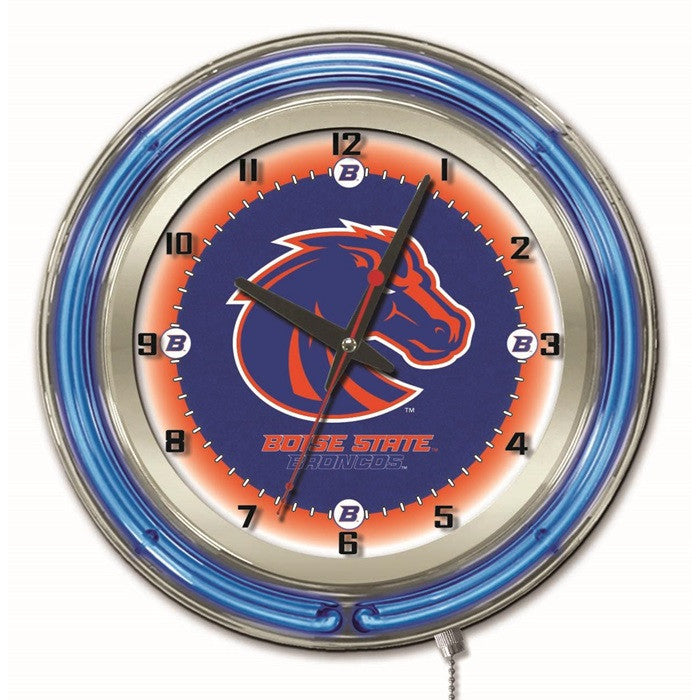 Boise State Broncos 19-Inch Neon Logo Clock - Sports Fans Plus