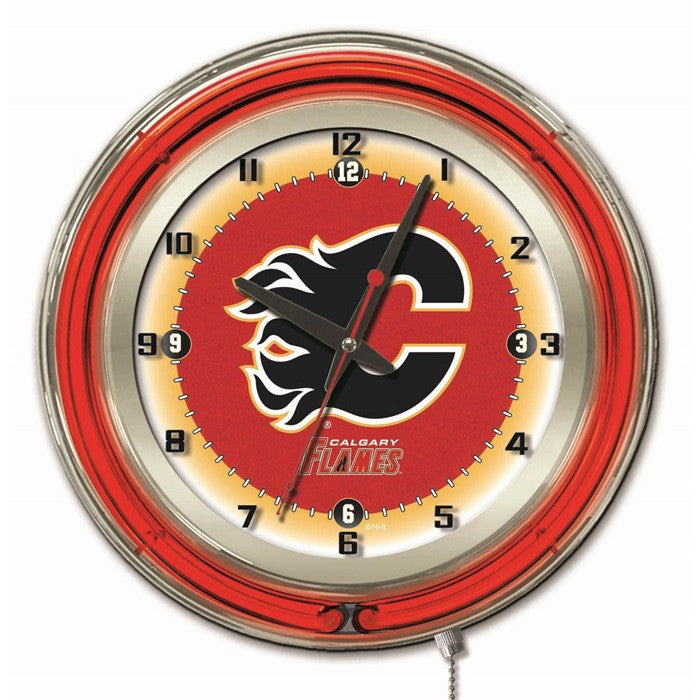 Calgary Flames NHL 19-Inch Neon Logo Clock - Sports Fans Plus
