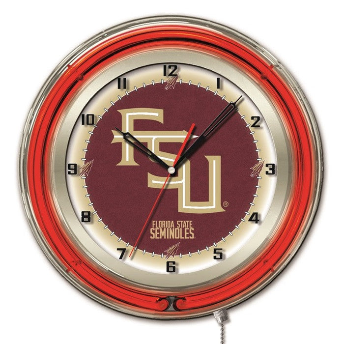 "Florida State Seminoles ""FSU"" 19-Inch Neon Logo Clock - Sports Fans Plus - 1"