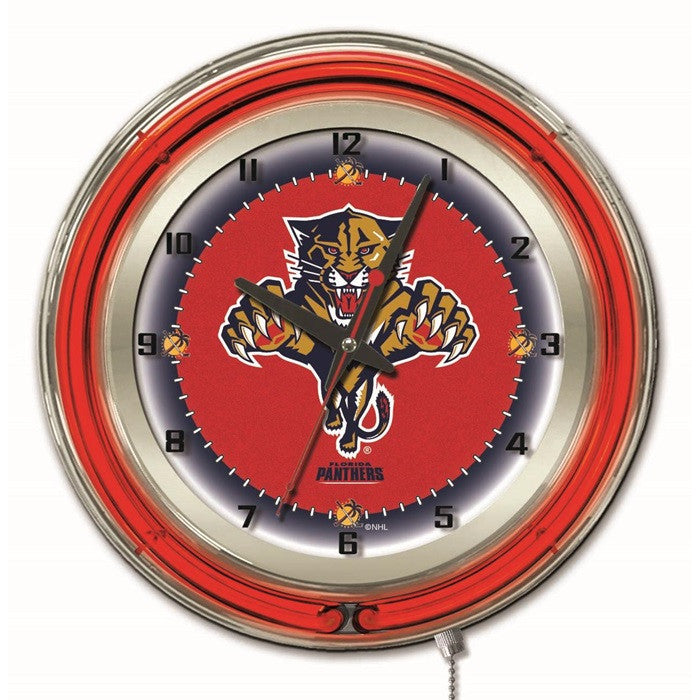 Florida Panthers NHL 19-Inch Neon Logo Clock - Sports Fans Plus