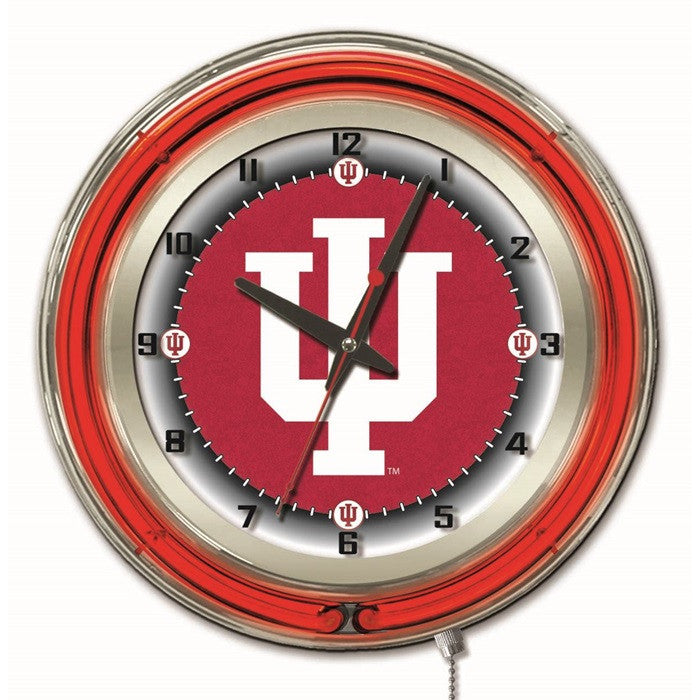 Indiana Hoosiers 19-Inch Neon Logo Clock - Sports Fans Plus