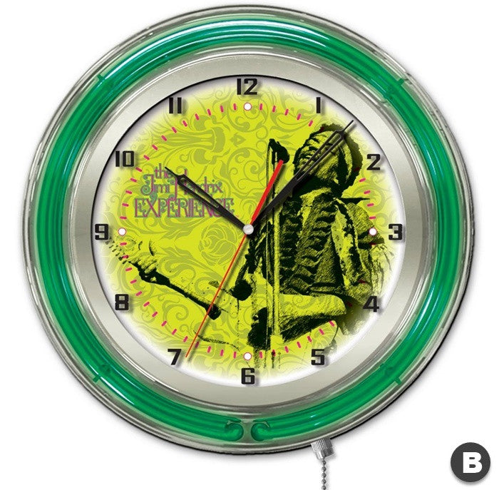 Jimi Hendrix 19-inch Neon Clock with Mircophone and Guitar Design