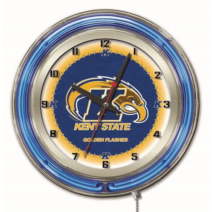 Kent State Golden Flashes 19-Inch Neon Logo Clock - Sports Fans Plus