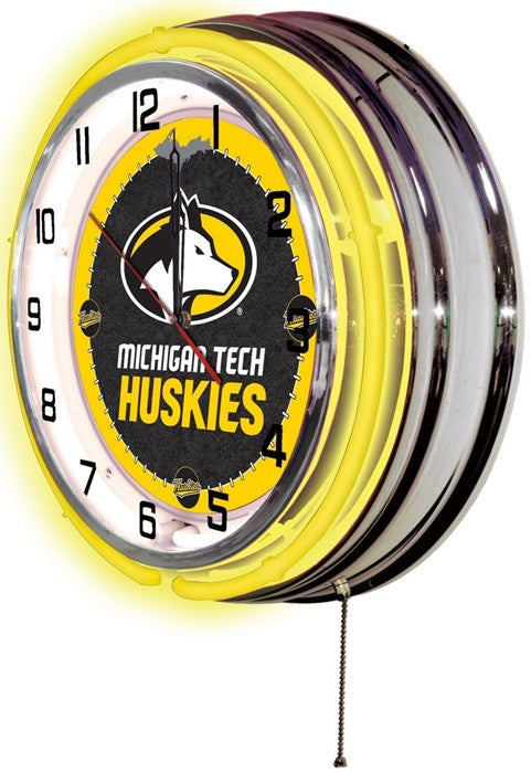 Michigan Tech Huskies 19-Inch Neon Logo Clock (side view)