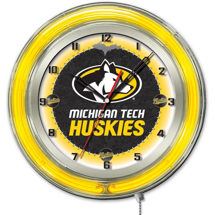 Michigan Tech Huskies 19-Inch Neon Logo Clock