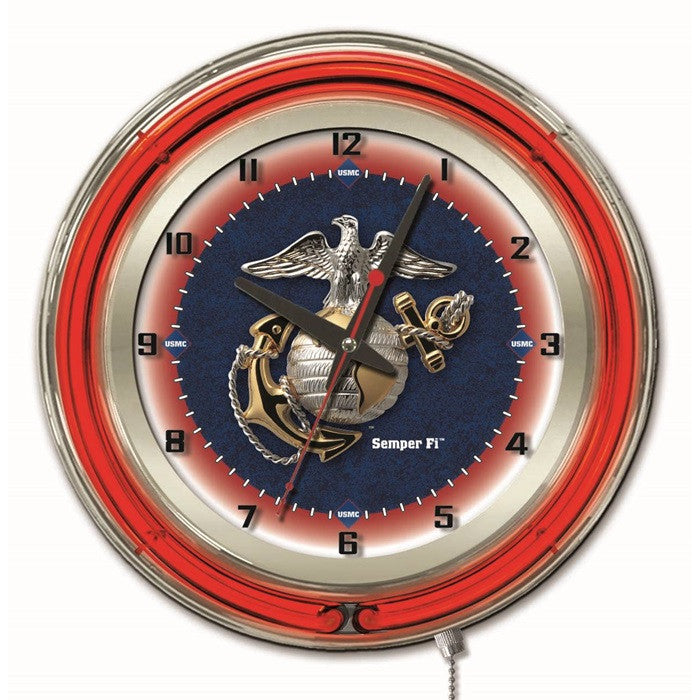 US Marine Corps 19-Inch Neon Logo Clock - Sports Fans Plus