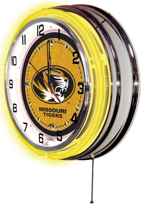 Missouri Tigers 19-Inch Neon Logo Clock (side view)