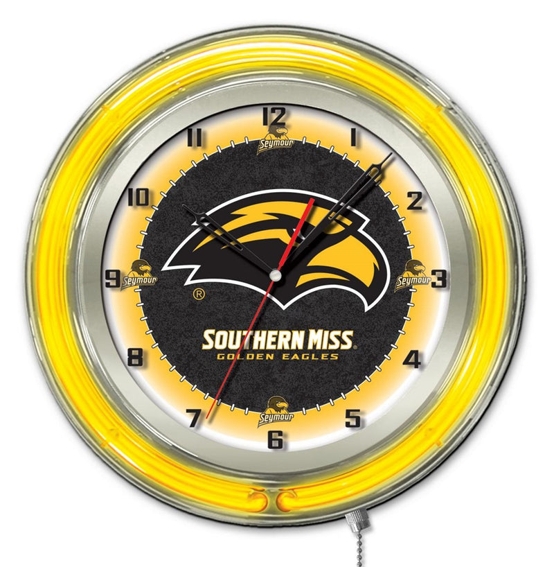 Southern Mississippi Golden Eagles 19-Inch Neon Logo Clock - Sports Fans Plus