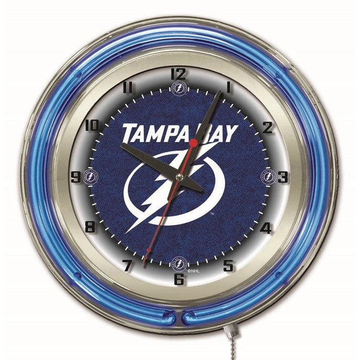 Tampa Bay Lightning NHL 19-Inch Neon Logo Clock - Sports Fans Plus