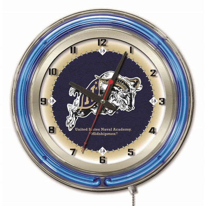 USNA Goats 19-Inch Neon Logo Clock - Sports Fans Plus