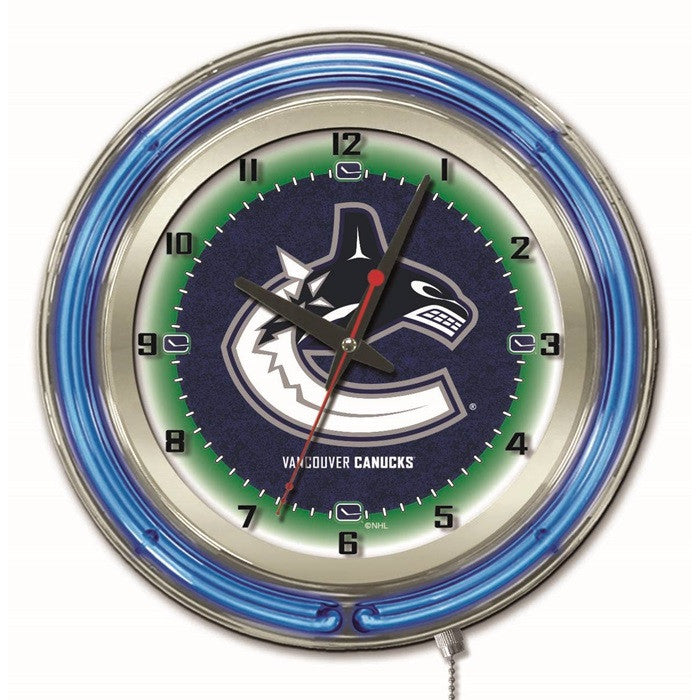 Vancouver Canucks NHL 19-Inch Neon Logo Clock - Sports Fans Plus