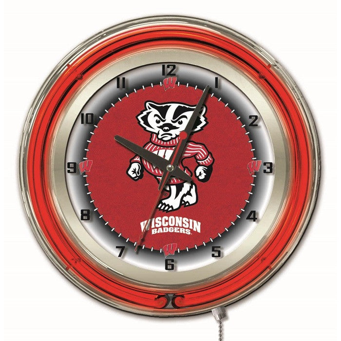 Wisconsin Badgers 19-Inch Neon Logo Clock - Sports Fans Plus  - 1