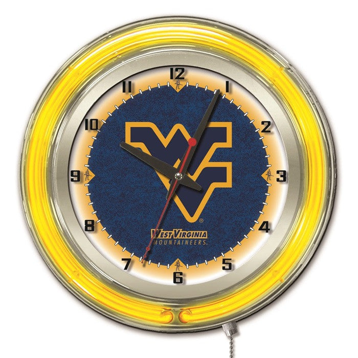 West Virginia Mountaineers 19-Inch Neon Logo Clock - Sports Fans Plus