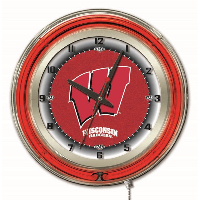 Wisconsin Badgers 19-Inch Neon Logo Clock - Sports Fans Plus  - 2