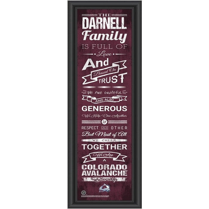 Colorado Avalanche NHL Personalized Family Cheer Print - Sports Fans Plus