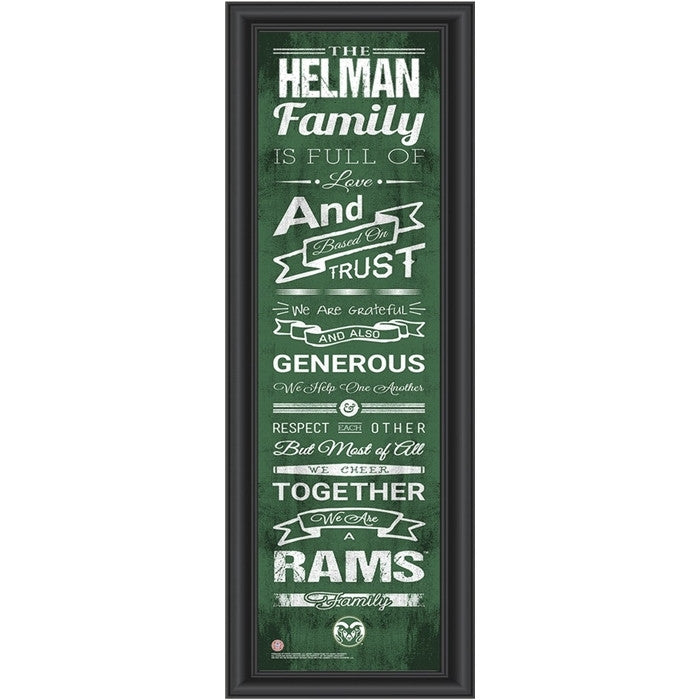 Colorado State Rams Personalized Family Cheer Print
